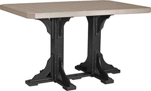 Weatherwood & Black 4'x6' Rectangular Table Bar Height