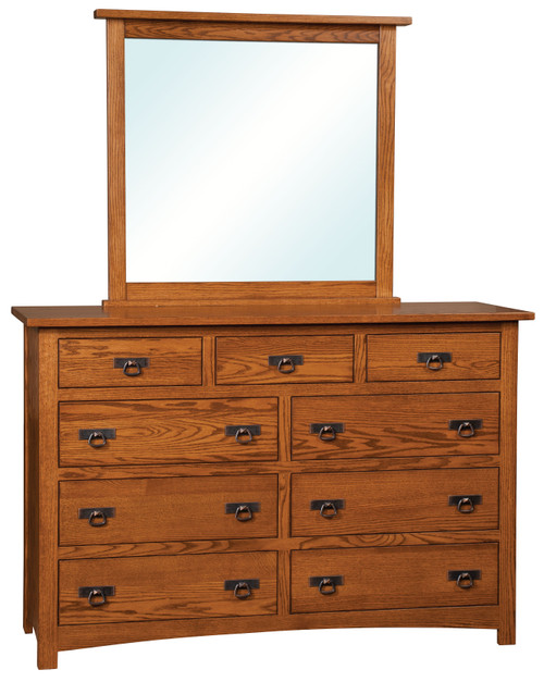 Classic Mission 9 Drawer Dresser with Mirror
