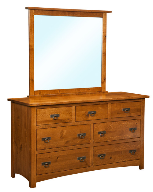 Classic Mission 7 Drawer Dresser with Mirror