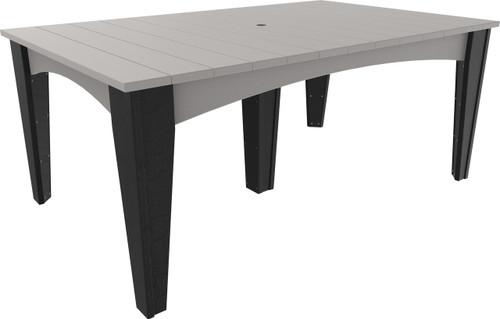 Dove Gray & Black Island Dining Table Rectangular