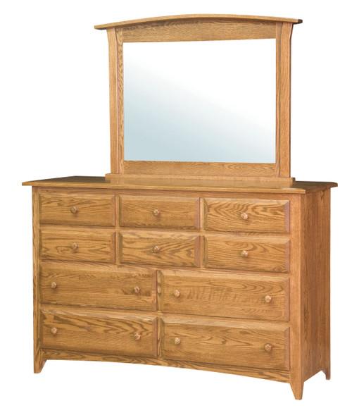 Shaker 10 Drawer Dresser with Mirror