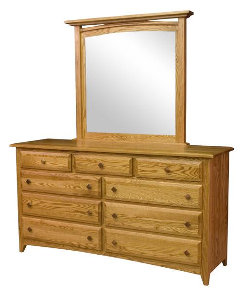 Shaker 9 Drawer Dresser with Mirror
