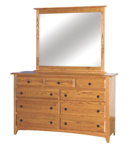 Shaker 9 Drawer Dresser II with Mirror