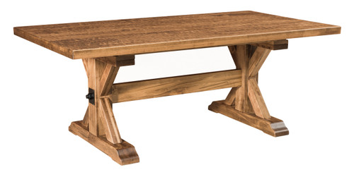 """Austin Trestle Table - 42""""x 84""""shown in Wormy Maple with FC 4200 Briarwood, low sheen with Custom Hand Planned Top"""