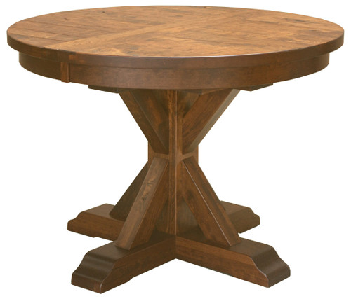 Alberta Pedestal Table shown in Rustic Cherry with OCS 113 Michael's Cherry