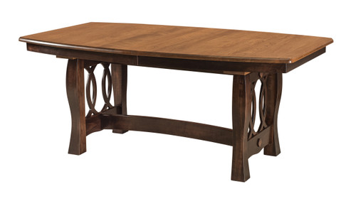 Cambria Table - shown in Maple: top in Golden Walnut, base in Onyx