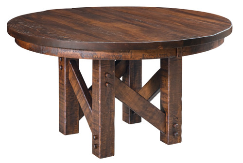 Denver Pedestal Table - shown in Rough-sawn Brown Maple with Tavern Finish