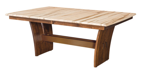 Delphi Table - shown in Wormy Maple with Natural Finish (top), Brown Maple with OCS 117 Asbury (base)