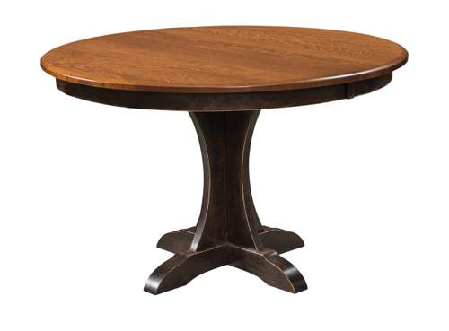 Ellis Pedestal Table - shown in Quarter Sawn White Oak with OCS 117 MIchael's (top), OCS 230 Onyx with Rub Through (base)