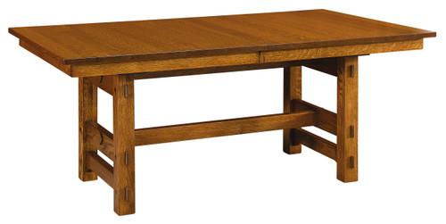 Glenwood Trestle Table - shown in Quarter Sawn White Oak with Vintage Antique Finish