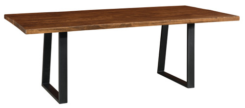 Laredo Trestle Table - shown in Rough Sawn Brown Maple with FC42000 Almond and Black Powder Coated Metal Base