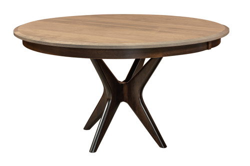 West Newton Pedestal Table - shown in Brown Maple, Driftwood Finish (top) and Briar Finish (bottom)
