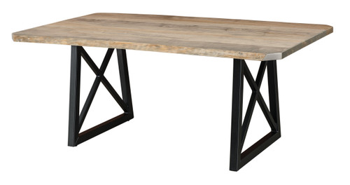 Yukon Trestle Table - shown in Wormy Maple with Weathered Log Stain