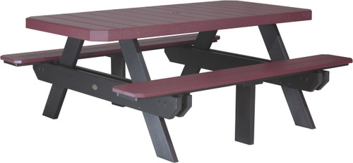 Cherrywood & Black 6' Rectangular Picnic Table