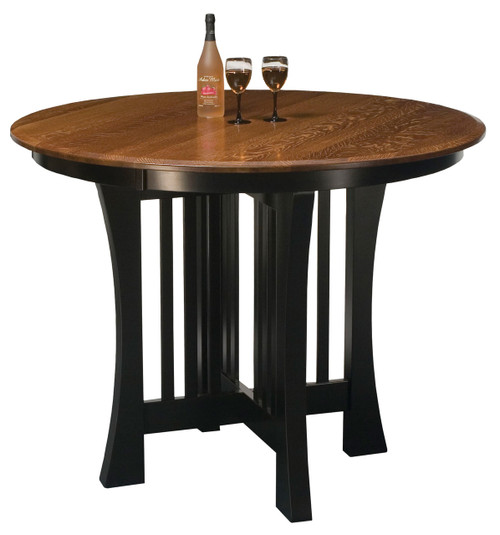 Arts & Crafts Pub Table  Table top shown in Quarter Sawn White Oak with OCS 113 Michael's Stain. Base shown in Brown Maple with black paint.