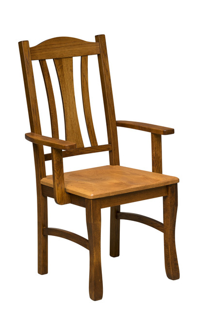 Hearth Side Arm Chair with optional Round Over Edge - shown in Hickory with OCS 113 Michael's Stain (back and legs) and Chestnut Stain (seat)