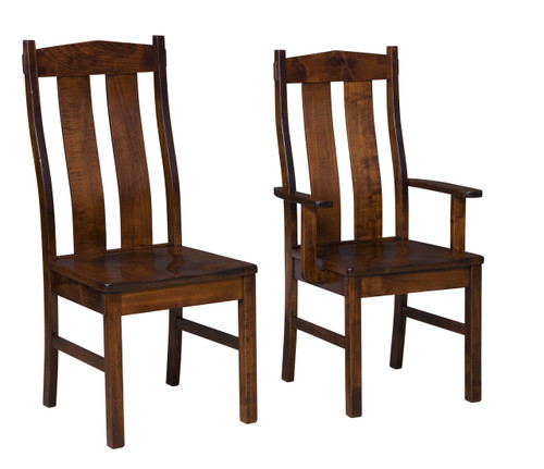 Timber Ridge Side Chair (left) & Timber Ridge Arm Chair (right) - shown in Brown Maple with OCS 117 Asbury Stain