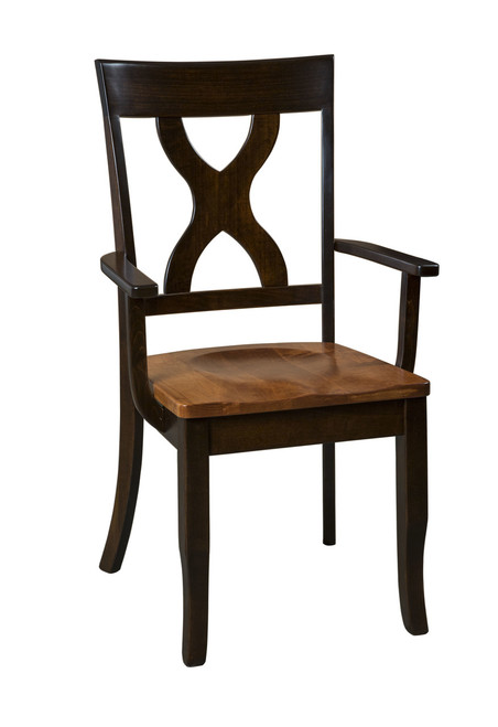 Woodstock Arm Chair - shown in Brown Maple with OCS 228 Rich Tobacco Stain, seat in Copper Stain
