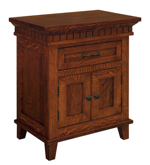 Whitaker Home 1 Drawer, 2 Door Nightstand - shown in Quarter Sawn Oak with Golden Brown Stain and P3527-BI Pull & P3526-BI Knob