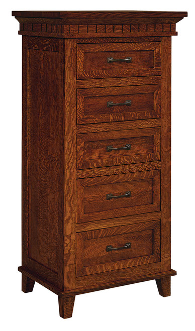 Whitaker Lingerie Chest - shown in Quarter Sawn Oak with Golden Brown Stain and P3527-BI Pull & P3526-BI Knob