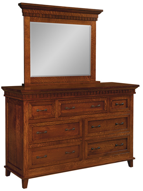 Whitaker Dresser with Optional Mirror - shown in Quarter Sawn Oak with Golden Brown Stain and P3527-BI Pull & P3526-BI Knob