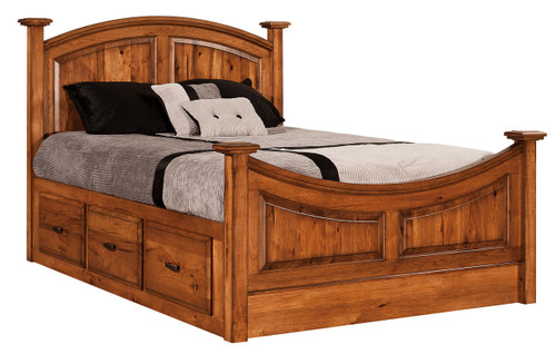 Highland Bed - shown with storage tail option - shown in Rustic Hickory with Honey Stain