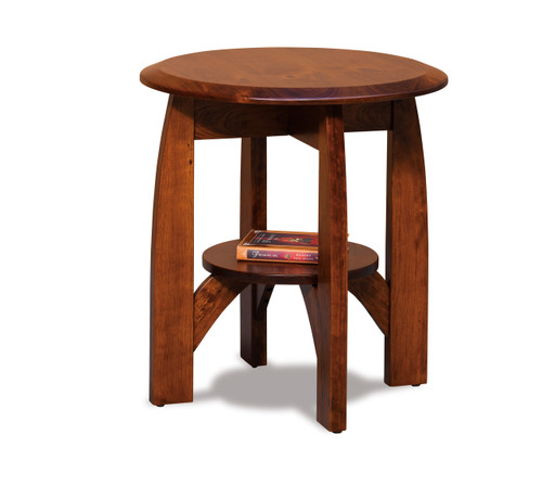 """Boulder Creek 22"""" Round End Table with Shelf"""