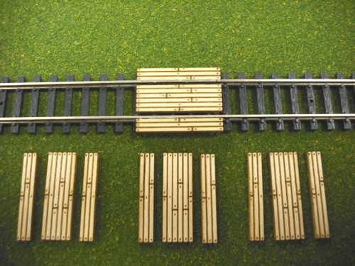Train Time Laser N Scale Single Lane Timber Crossing 4-Pack