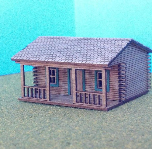 Train Time Laser HO Scale Log Cabin House Kit