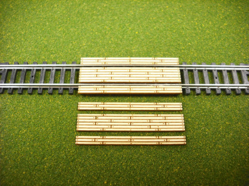 Train Time Laser N Scale Double Lane Timber Crossing 2-Pack
