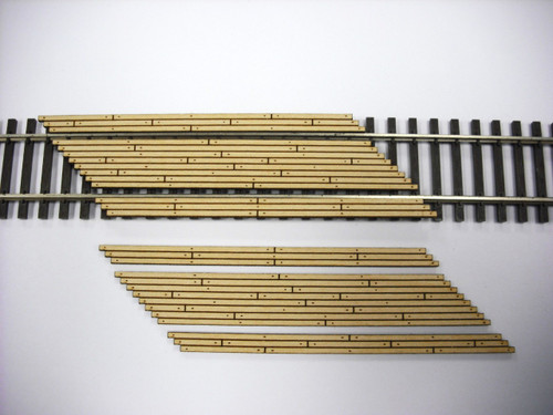 Train Time Laser HO Double Lane Timber Left Angle Crossing (2-Pack)