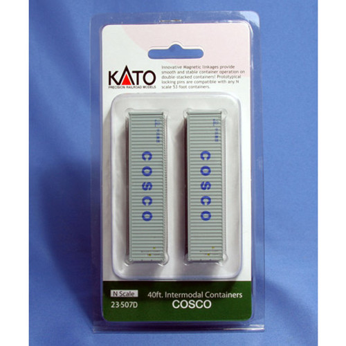Kato N Scale 40ft. Cosco Intermodal Containers 23507D