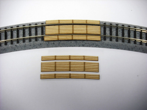 Train Time Laser N Scale Double Lane 24 in Radius Curved Timber Crossing 2-Pack