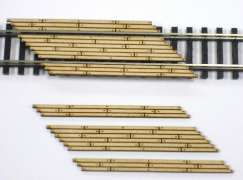 Train Time Laser N Scale Double Lane Timber Left Angled Crossing 2-Pack