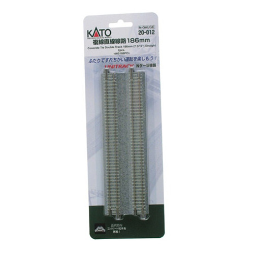 "Kato N 7-5/16"" Double Track Straight, Concrete Ties (2) 20012"