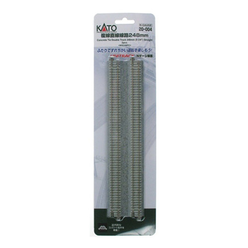 "Kato N 9-3/4"" Double Track Straight, Concrete Ties (2) 20004"