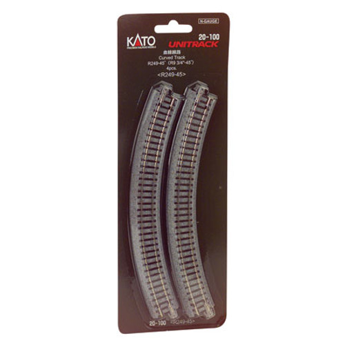"Kato N 249mm 9-3/4"" Radius Curve 45-Degree (4) - 20100"
