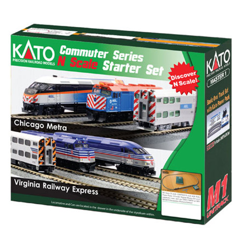 Kato N Scale F40PH Commuter Starter Set, Metra Set - 1060032