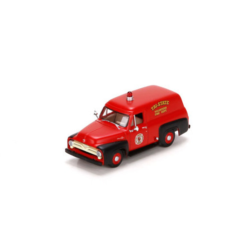 Athearn HO Scale 1955 Ford F-100 Panel Truck, Fire/Red&Black - 26485