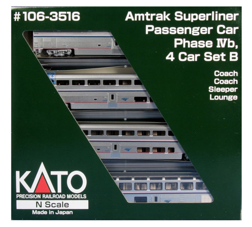Kato N Scale Superliner Set, Amtrak/Phase IVb Set B (4) - 1063516