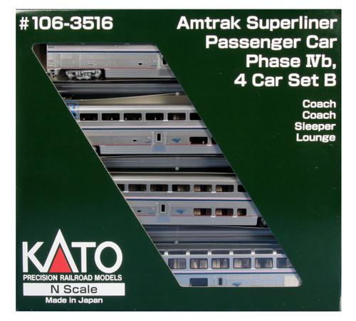 Kato N Scale Superliner Set, Amtrak/Phase IVb Set B (4) - 1063516