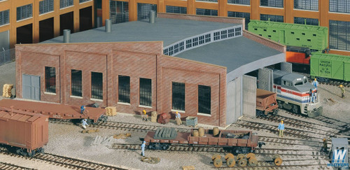Walthers Cornerstone HO Scale Three-Stall Roundhouse Kit - 933-3041