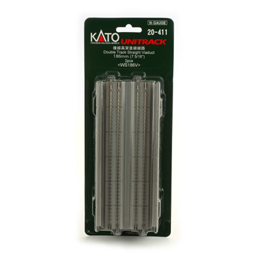 "Kato N 186mm 7-5/16"" Straight Dbl Viaduct, Concrete (2) - 20411"