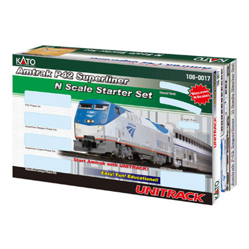 Kato N Scale P42 Superliner Starter Set, Amtrak/Phase V