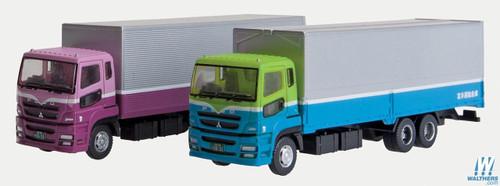 Tomytec N Scale TwoSemi Trucks plum/mauve Teal/green