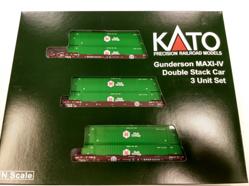 Kato N MAXI IV Well Car, BNSF/ GREEN HUB #258791 (3) - 1066177