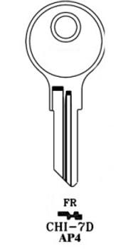 Key blank, JMA CHI7DE for Chicago AP4/104AM