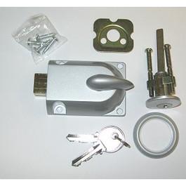 Garage Door Lock with Key Cylinder, Grey FInish (Custom Keyed)