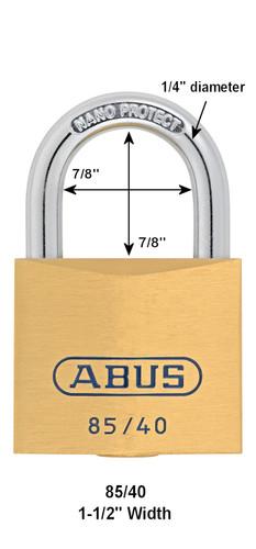 Abus 85/40 Brass Body Padlock, Keyed Different