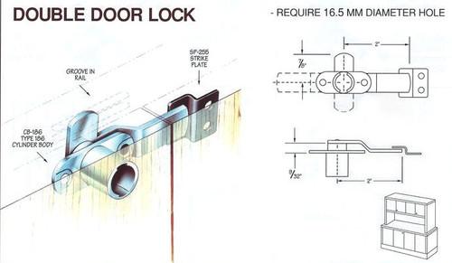 Compx Timberline C186CB Cam Lock, Double Door Less Plug